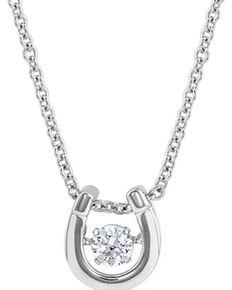Montana Silversmiths Women's Dancing Birthstone Horseshoe Necklace - April, Silver, hi-res