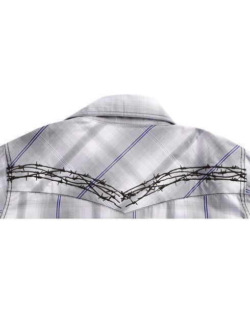 Cowboy Hardware Boys' Barb Wire Plaid Long Sleeves Shirt, Grey, hi-res