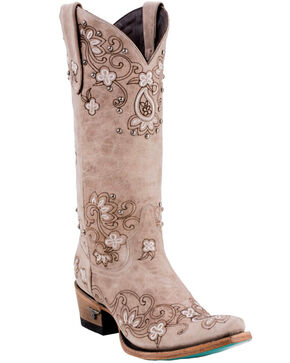Lane Women's Sweet Paisley Bone Boots - Snip Toe , Natural, hi-res
