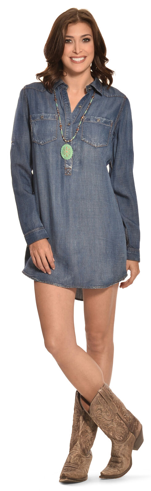 Cowgirl Justice Women's Durango Tencel Denim Tunic Dress, Denim, hi-res