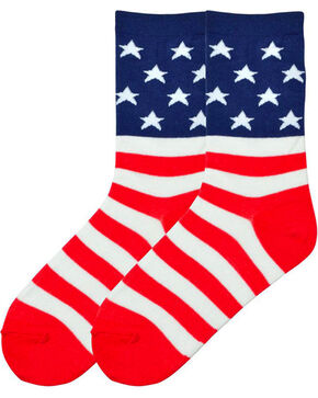 K. Bell Women's American Flag Crew Socks , Multi, hi-res