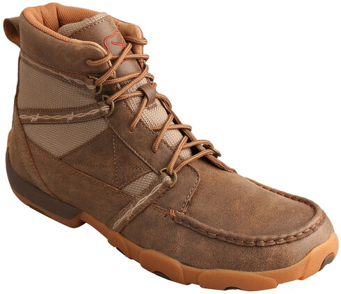 Twisted X Men's Bomber Brown Lace-Up Driving Shoes - Moc Toe , , hi-res