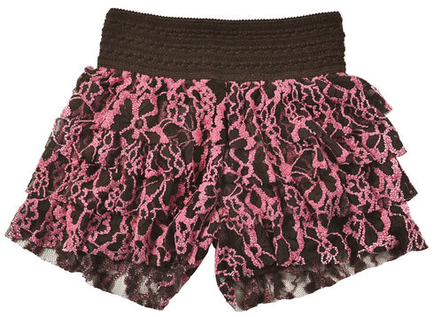 Cowgirl Hardware Girls' Ruffle Lace Shorts, Pink, hi-res