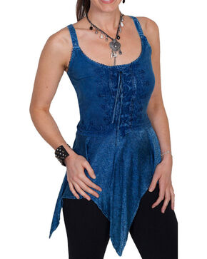 Scully Women's Lace-Up Tank, Blue, hi-res