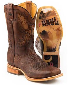 Tin Haul Men's Stampede Western Boots - Square Toe, Brown, hi-res