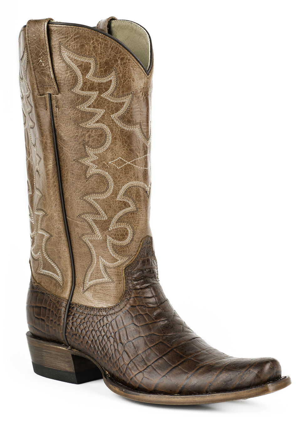 Roper Croc Print Cowboy Boots - Wide Square Toe, Brown, hi-res
