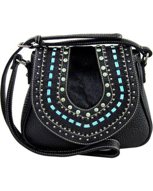 Shyanne Women's Black Embellished Saddle Crossbody Bag , Black, hi-res