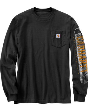 Carhartt Workwear Men's Saw Graphic Long Sleeve T-Shirt - Tall , Black, hi-res