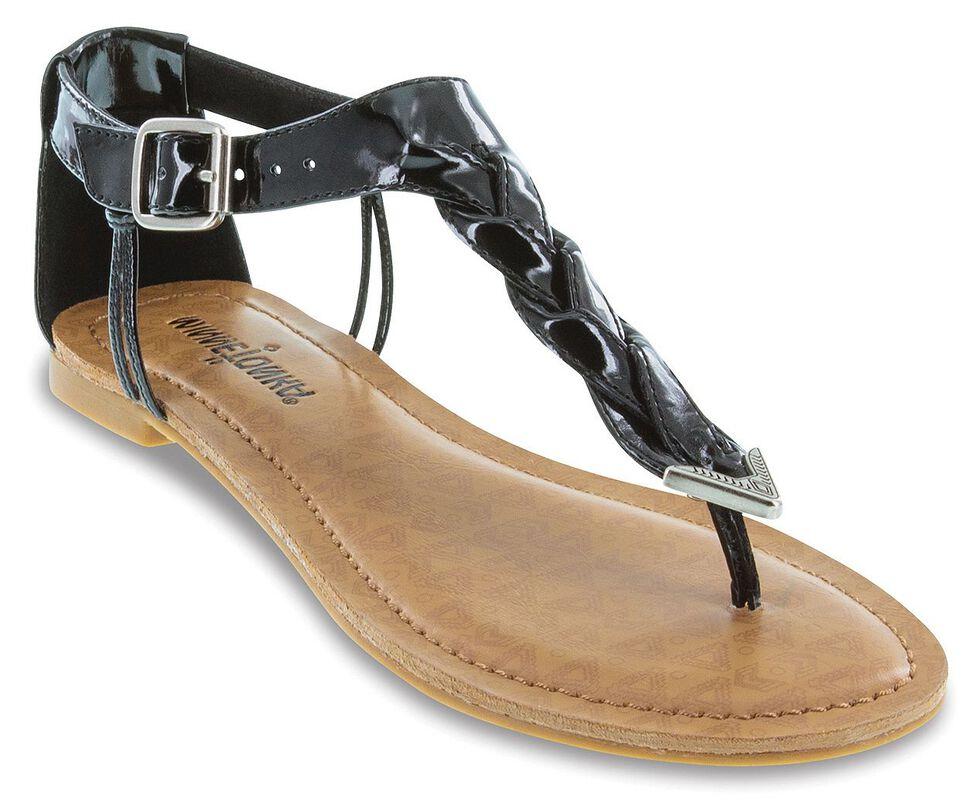 14b234b31574 Minnetonka Fiesta Black Braided Thong Sandals