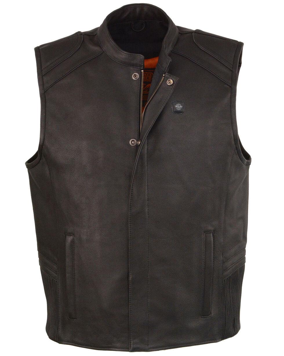 Milwaukee Leather Men's Black Heated Technology Leather Vest - 5X , Black, hi-res