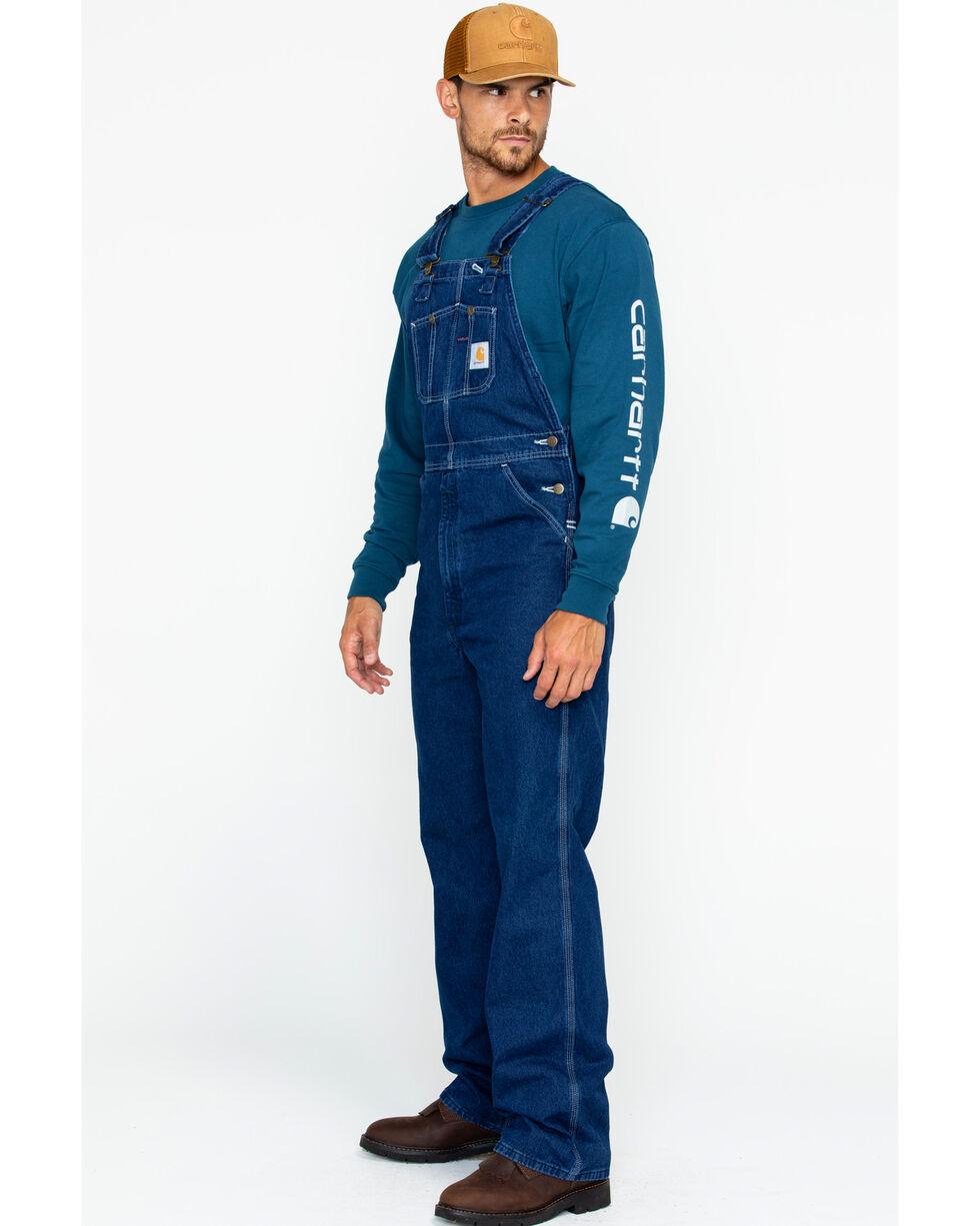 Carhartt Bib Washed Denim Work Overalls - Big & Tall, Blue, hi-res