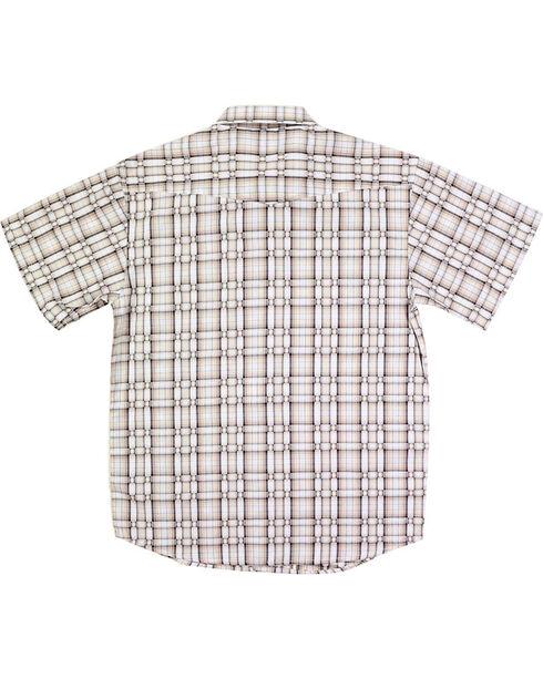 Panhandle Boys' Basketweave Patterned Short Sleeve Shirt, Natural, hi-res
