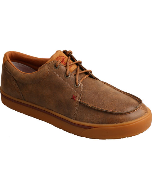 Twisted X Men's Hooey Smooth Leather Casual Shoes - Moc Toe, Brown, hi-res