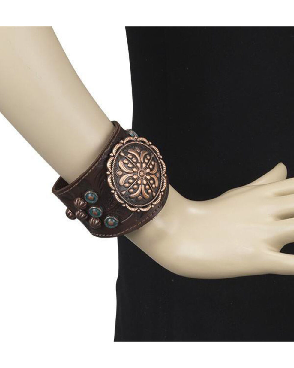 American West Women's Chestnut Bronze Concho Wide Cuff Bracelet , Chestnut, hi-res