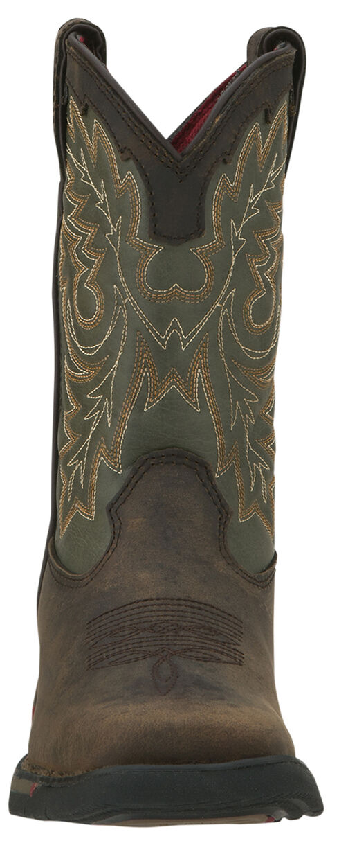 Rocky Youth Boys' Long Range Tan and Green Western Boots - Square Toe, Tan, hi-res