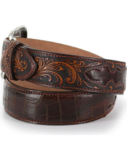Tony Lama Men's Brown Pinto Classic Leather Belt , Brown, hi-res