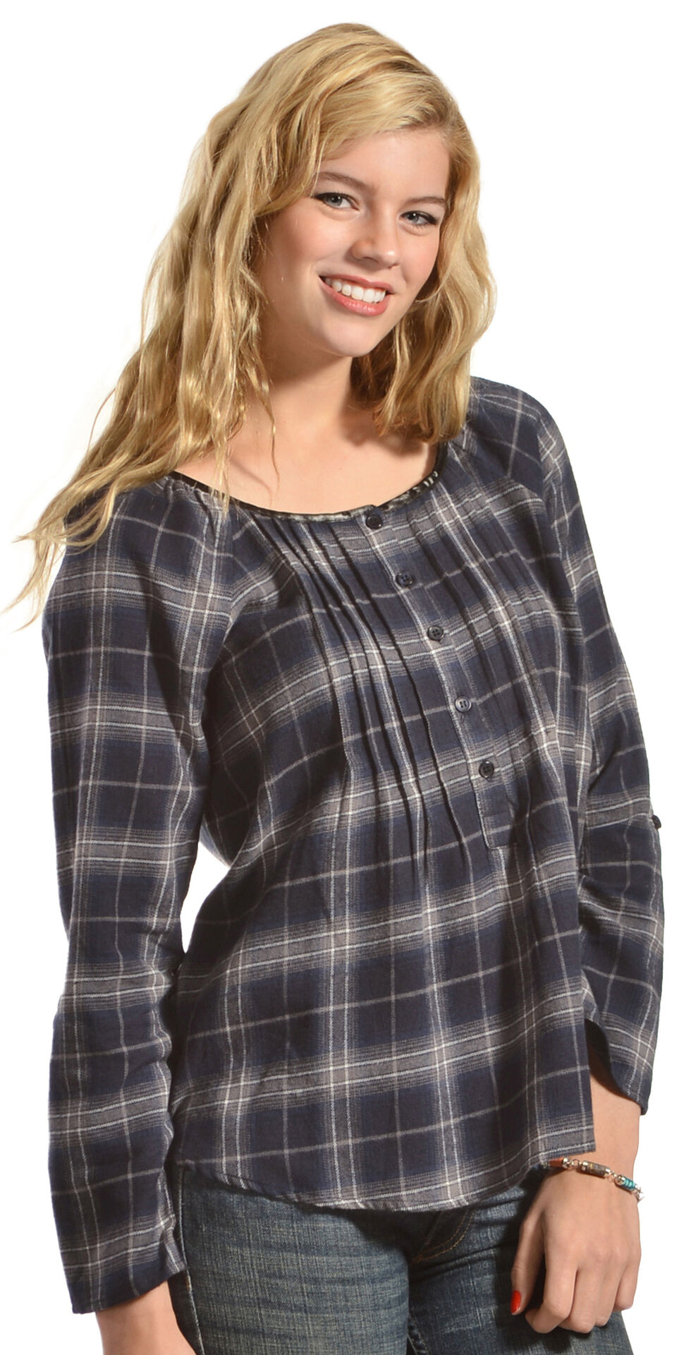 Red Ranch Blue Plaid Pleather Trim Pleated Flannel Top , , hi-res