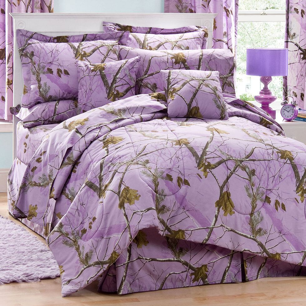 Realtree Lavender Camo Twin Comforter Set, Camouflage, hi-res