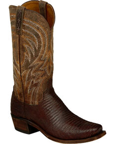 Lucchese Men's Handmade Tan Percy Lizard Boots - Snip Toe , Tan, hi-res