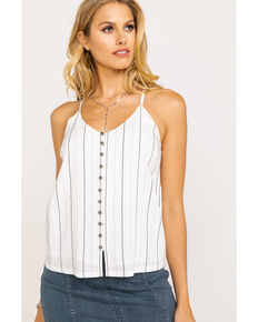 Miss Me Women's Pin Stripe Button Down Cami , White, hi-res