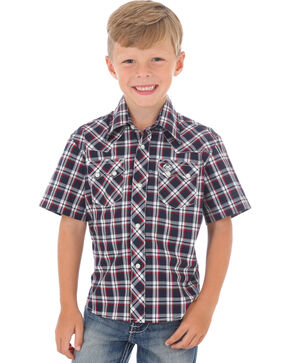 Wrangler Boys' Navy Retro Short Sleeve Plaid Shirt , Navy, hi-res