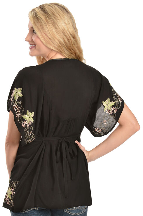 Scully Floral Embroidered Wide Sleeve Top, Black, hi-res