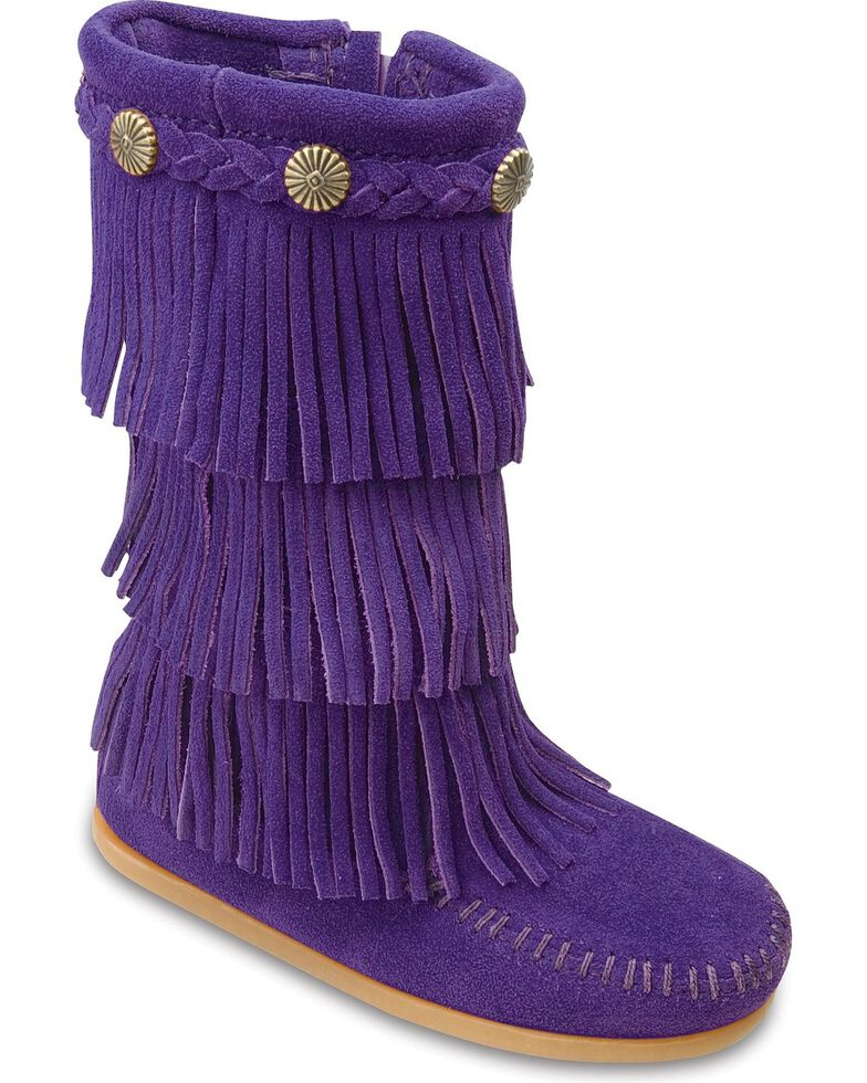 Minnetonka Girls' Fringed Suede Boots, Purple, hi-res