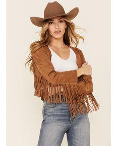 Vocal Women's Faux Suede Western Fringe Jacket , Camel, hi-res