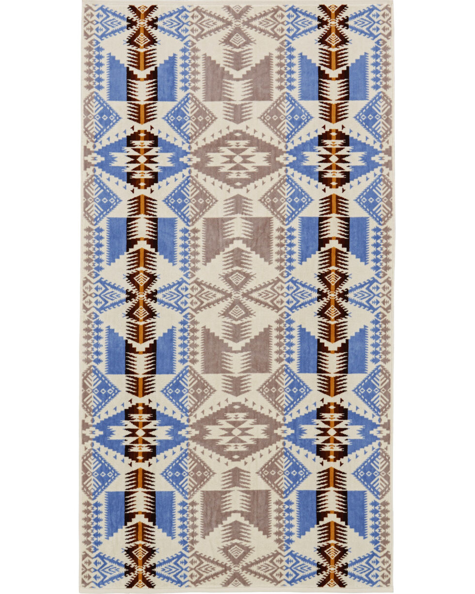 Pendleton Silver Bark Oversized Jacquard Towel , Turquoise, hi-res