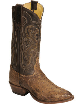 Tony Lama Men's Vintage Full Quill Ostrich Boots - Medium Toe, Chocolate, hi-res