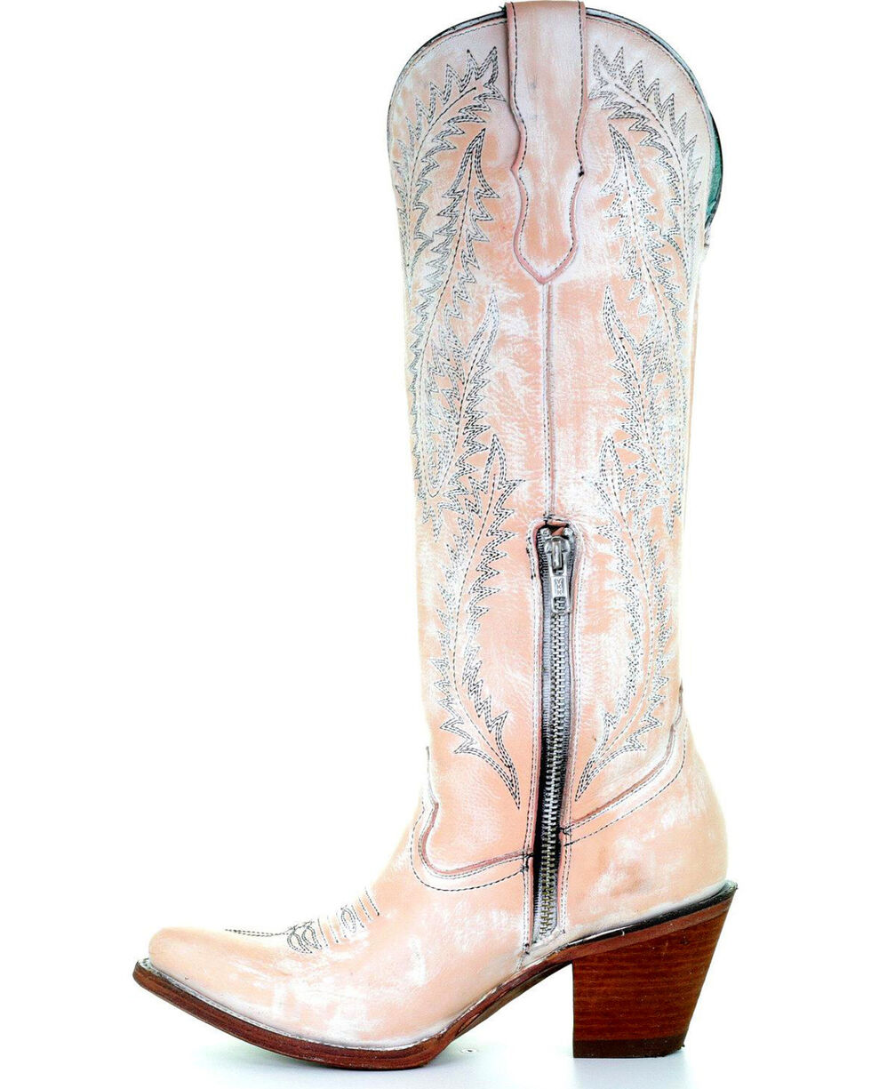 Corral Women's Rose Embroidered Tall Top Cowgirl Boots - Pointed Toe , Light Pink, hi-res