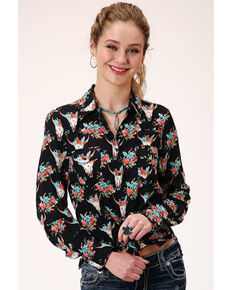 Roper Women's Black Floral Skull Long Sleeve Western Shirt , Black, hi-res