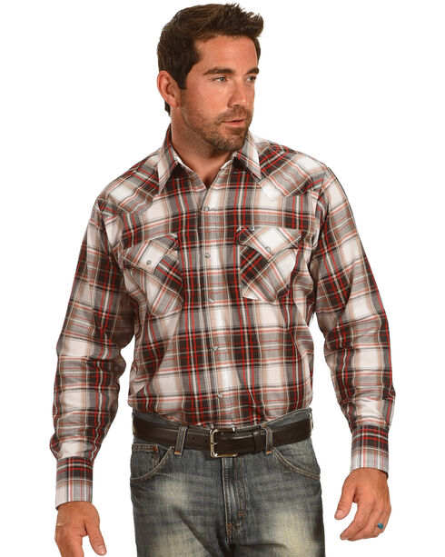 Ely Cattleman Men's Brown Textured Plaid Long Sleeve Snap Shirt, White, hi-res