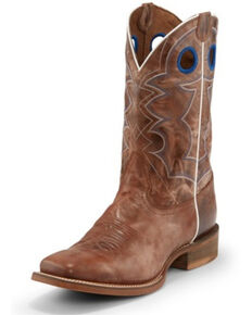 Nocona Men's Go Round Tan Western Boots - Wide Square Toe, Brown, hi-res