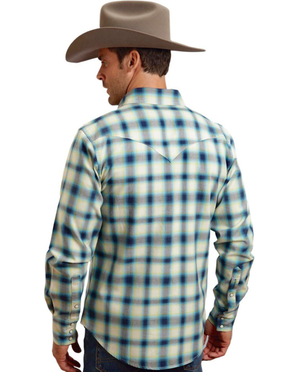 Stetson Men's Blue Ombre Plaid Long Sleeve Shirt , , hi-res