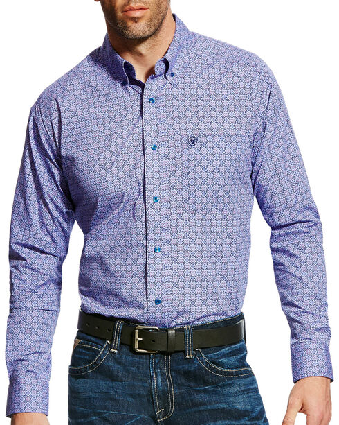 Ariat Men's Emery Print Button Down Shirt, Purple, hi-res