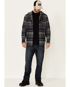 Hawx Men's Dark Grey Townsend Plaid Hooded Long Sleeve Flannel Work Shirt , Dark Grey, hi-res