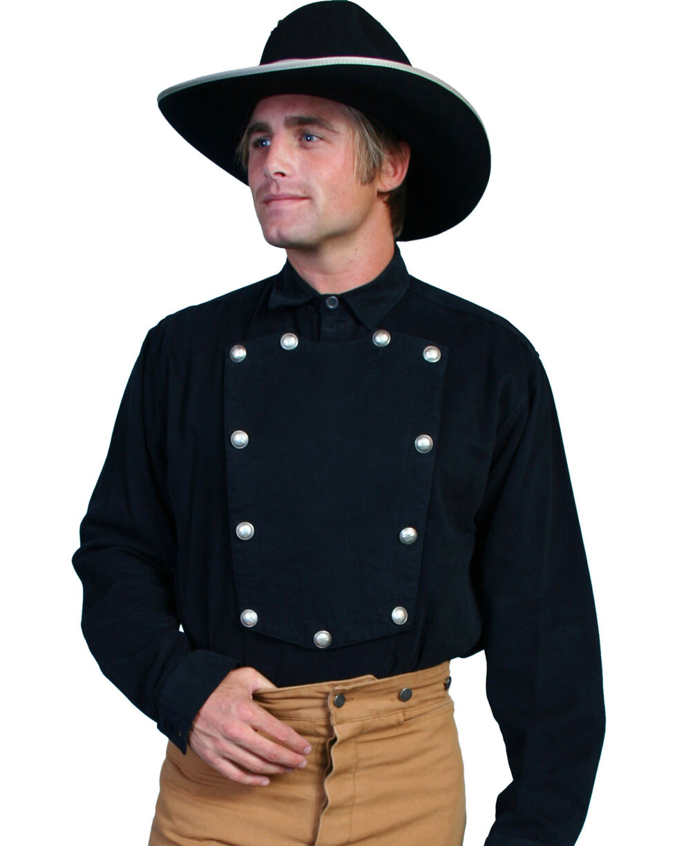 WahMaker Old West by Scully Brushed Twill Bib Shirt - Big and Tall, Black, hi-res