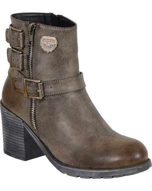 Milwaukee Leather Women's Grey Triple Buckle Platform Boots - Round Toe , , hi-res
