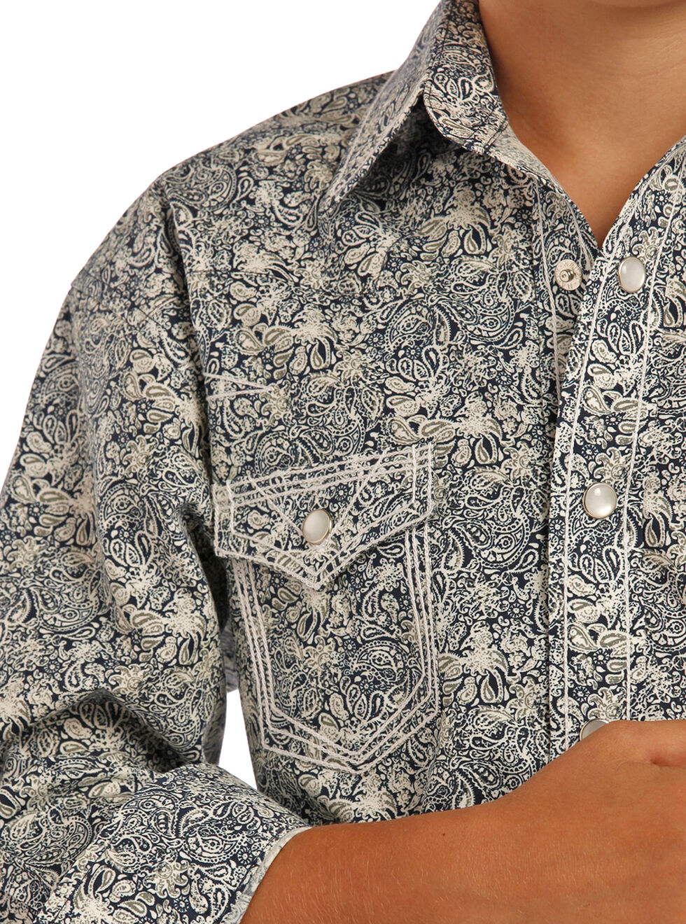 Rock & Roll Cowboy Boys' Blue Poplin Paisley Print Shirt , Blue, hi-res