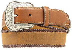Nocona Kids' Leather Laced Edge Belt, Med Brown, hi-res