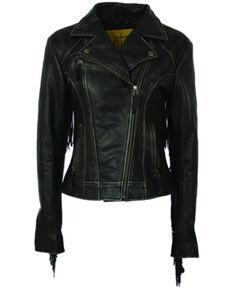 STS Ranchwear Women's Chenae Fringe Leather Jacket - Plus, Black, hi-res