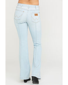 Wrangler Women's Modern Bleach Seamed Flare Jeans, Light Blue, hi-res