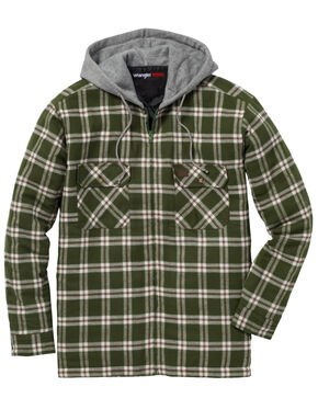 Wrangler Men's Plaid Hooded Quilted Flannel Jacket, Olive, hi-res