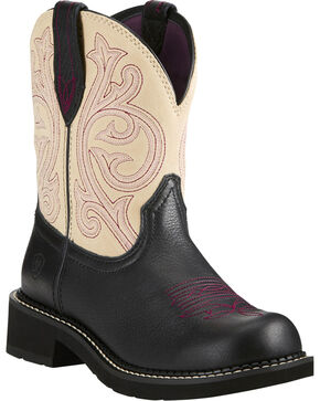 Ariat Fatbaby Women's Heritage Black/Cream Cowgirl Boots - Round Toe, Dark Brown, hi-res