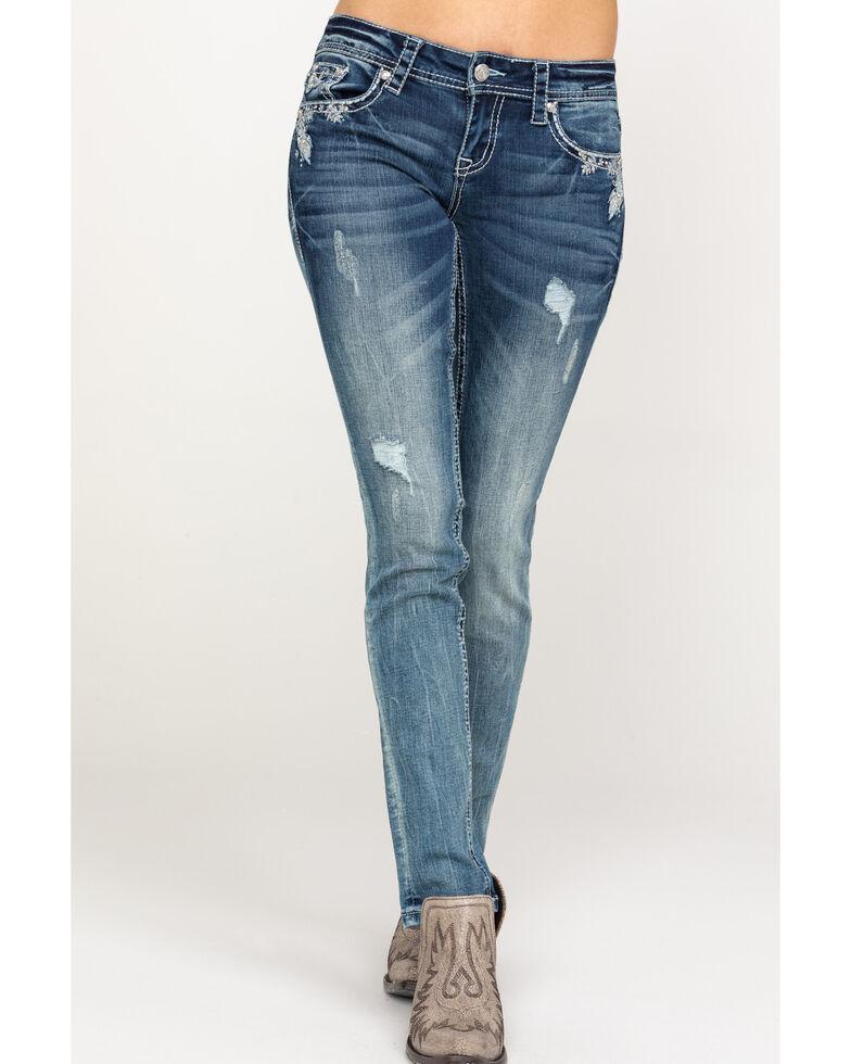 Grace in LA Women's Medium Low Skinny Jeans, Blue, hi-res
