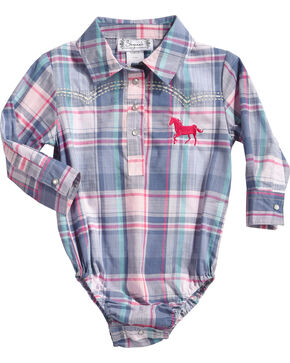 Shyanne Infant Girls' Plaid Long Sleeve Onesie, Blue, hi-res