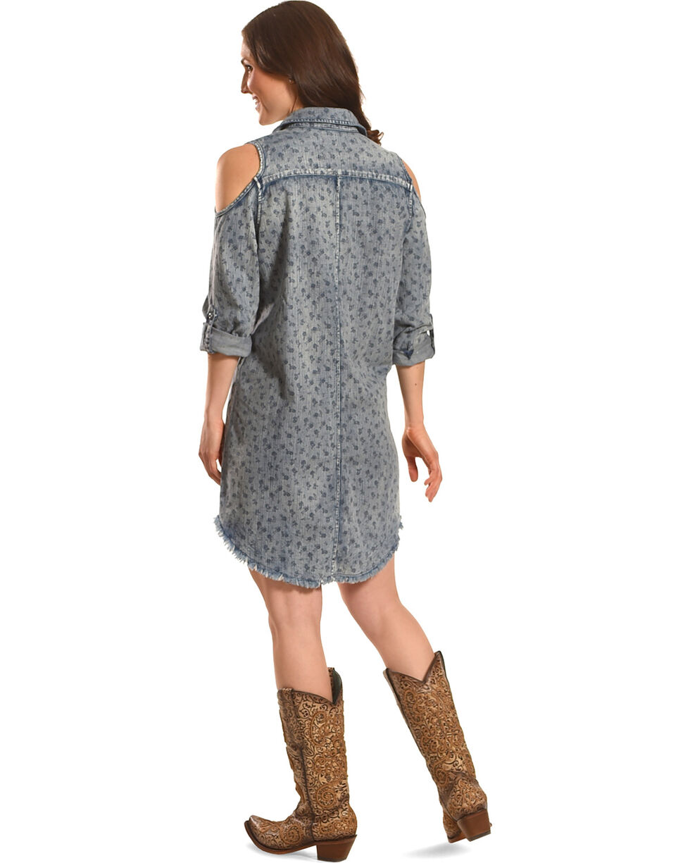 Billy T Women's Rolled Sleeve Denim Cold Shoulder Dress, Blue, hi-res