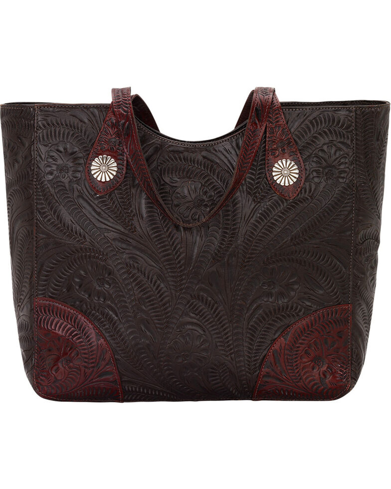 American West Annie's Secret Collection Chocolate Large Zip Top Tote, Chocolate, hi-res