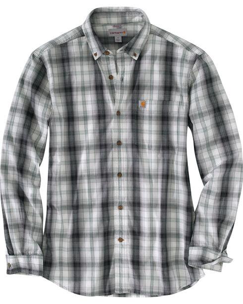 Carhartt Men's Black Essential Plaid Button Down Long Sleeve Shirt, Black, hi-res